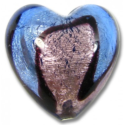 1 Murano Glass Bi Coloured Heart Bead Silver Foiled Sapphire/ Light Amethyst