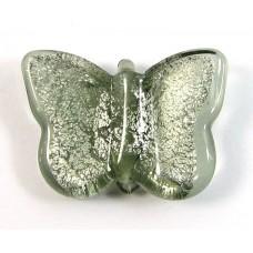 1 Murano Glass Silver Foiled Black Diamond Butterfly (Medium)