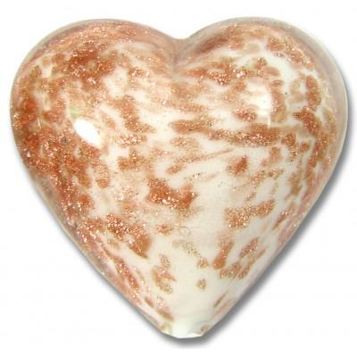 1 Murano Glass White Core Sommerso Aventurine Flecked Heart 26mm.
