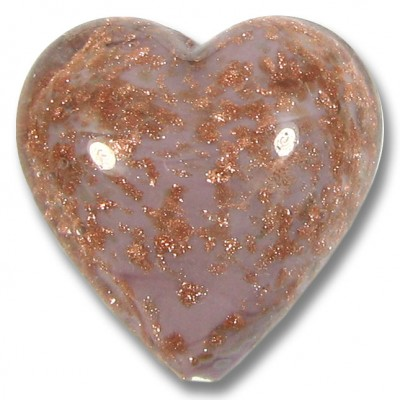 1 Murano Glass Lilac Core Sommerso Aventurine Flecked Heart 26mm.