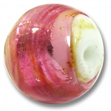 1 Murano Glass Light Topaz and Rose Silverfoil over White Core Bead
