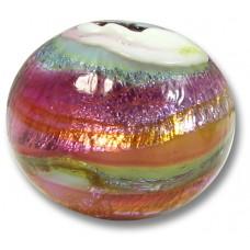 1 Murano Glass Multicolour Silverfoil over White Core Bead