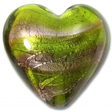 1 Murano Glass White Goldfoiled Lime and Amethyst Heart