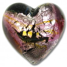 1 Murano Glass Silverfoiled Rose Bloom 32mm Heart