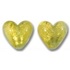 Pair Murano Glass 10mm Heart Beads Gold Foiled Aquamarine