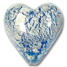1 Murano Glass Crackle White Gold Foiled 20mm Aquamarine Blue Heart