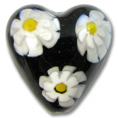 1 Murano Glass Black/ White/ Yellow Millefiore Heart