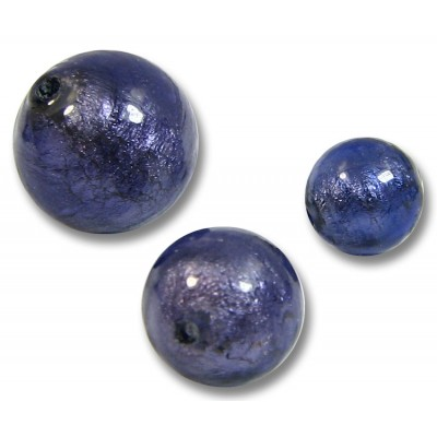 1 Murano Glass Purple Velvet White Gold Foiled 14mm Round Bead