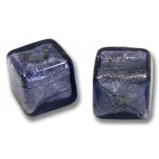Pair Murano Glass White Gold Foiled Purple Velvet 8mm Cube Beads