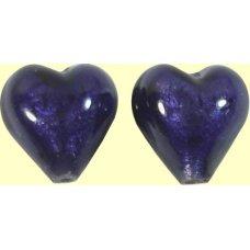Pair Murano Glass White Gold Foiled Purple Velvet 10mm Hearts