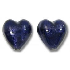 Pair Murano Glass White Gold Foiled Purple Velvet 14mm Hearts