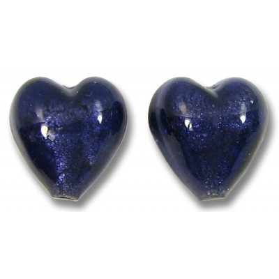 Pair Murano Glass White Gold Foiled Purple Velvet 14mm Hearts