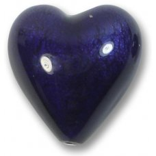 1 Murano Glass White Gold Foiled Purple Velvet 20mm Heart