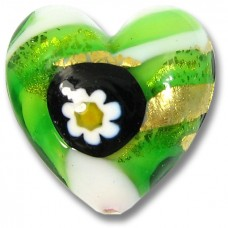 1 Murano Glass Millefiore Daisy Goldfoiled Heart Green
