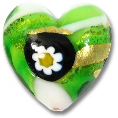 1 Murano Glass Millefiore Daisy Goldfoiled Heart Green