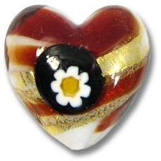 1 Murano Glass Millefiore Daisy Goldfoiled Heart Ruby