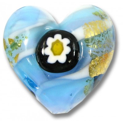 1 Murano Glass Millefiore Daisy Goldfoiled Heart Sky Blue and Violet