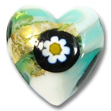 1 Murano Glass Millefiore Daisy Goldfoiled Heart Verde