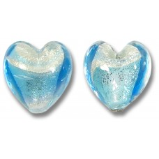 Pair Murano Glass Aquamarine/ Periwinkle 14mm White Goldfoiled Hearts