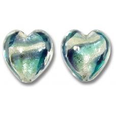 Pair Murano Glass Purple Velvet/ Verde 14mm White Goldfoiled Hearts