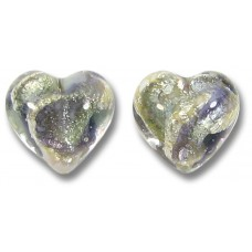 Pair Murano Glass Purple/ Black Diamond 14mm White Goldfoiled Hearts