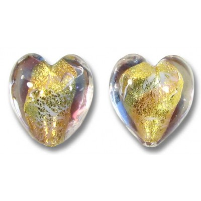 Pair Murano Glass Violet/ Amethyst 14mm Goldfoiled Hearts
