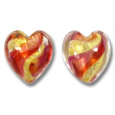 Pair Murano Glass Ruby 14mm Goldfoiled Hearts
