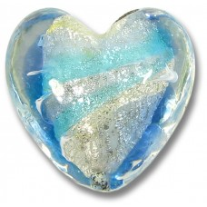 1 Murano Glass Aquamarine/ Periwinkle 20mm White Goldfoiled Heart