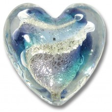 1 Murano Glass Purple Velvet/ Verde 20mm White Goldfoiled Heart