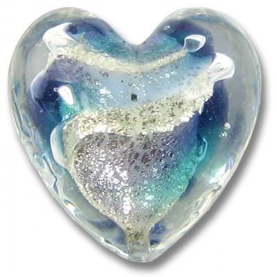 1 Murano Glass Purple Velvet/ Verde 20mm White Goldfoiled Heart