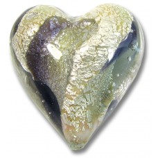 1 Murano Glass Purple/ Black Diamond 20mm White Goldfoiled Heart