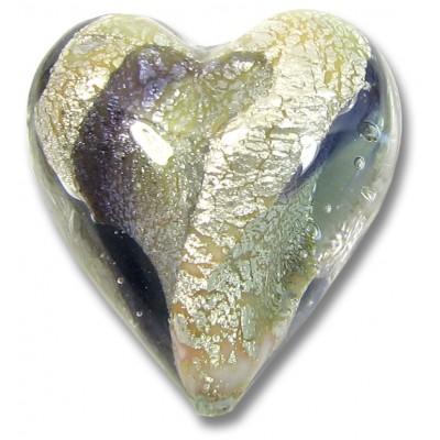 1 Murano Glass Purple/ Black Diamond 20mm White Goldfoiled Heart