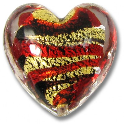 1 Murano Glass Goldfoiled Red/ Black Clear Cased Heart