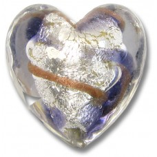 1 Murano Glass White Goldfoiled Aventurine/ Purple Velvet Clear Cased Heart