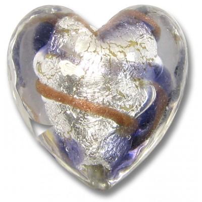 1 Murano Glass White Goldfoiled Aventurine/ Purple Velvet Clear Cased Heart