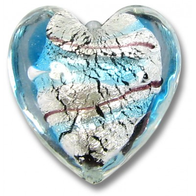 1 Murano Glass Amethyst/ Aqua with White Goldfoil 20mm Cased Heart
