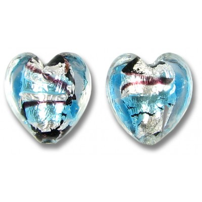 Pair Murano Glass Amethyst/ Aqua with White Goldfoil Crystal 14mm Clear Cased Hearts