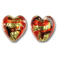 Pair Murano Glass 14mm Red/ Black Clear Cased Hearts with 24k Goldfoil