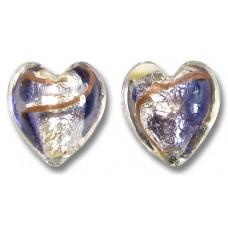 Pair Murano Glass 14mm White Goldfoiled Aventurine/ Purple Velvet Clear Cased Heart