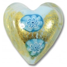 1 Murano Glass Latticino Millefiore Heart Sky Blue/ 24kt Gold Foiled