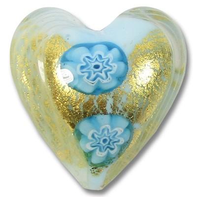 1 Murano Glass Latticino Millefiore Heart Sky Blue/ 24kt Gold Foiled