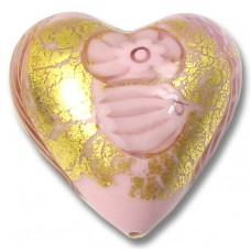 1 Murano Glass Latticino Millefiore Heart Rose 24kt Gold Foiled