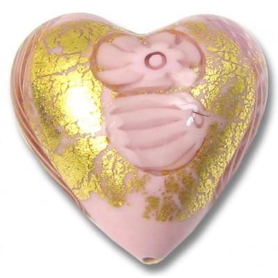 1 Murano Glass Latticino Millefiore Heart Rose 24kt Gold Foiled