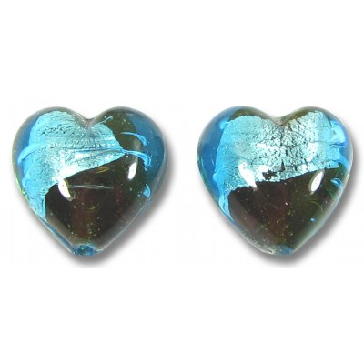 Pair Murano Glass Aqua/ Topaz with White Goldfoil Heart Beads