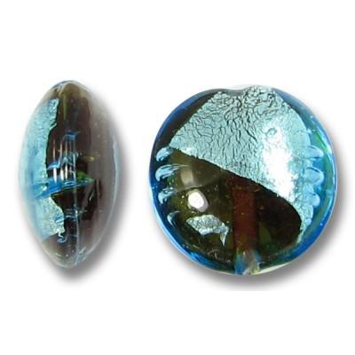 1 Murano Glass Aqua/ Topaz with White Goldfoil 14mm Lentil Bead