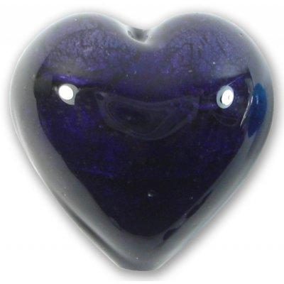 1 Murano Glass White Gold Foiled Dark Purple Velvet 28mm Heart