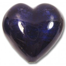 1 Murano Glass White Gold Foiled Dark Purple Velvet 28mm Heart
