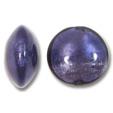 1 Murano Glass White Gold Foiled Purple Velvet 18mm Lentil