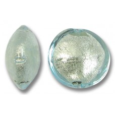 1 Murano Glass Aquamarine White Goldfoil 14mm Lentil