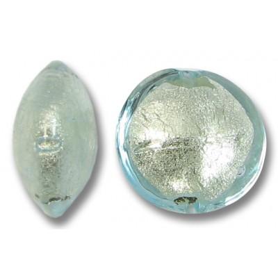 1 Murano Glass Aquamarine White Goldfoil 14mm Lentil
